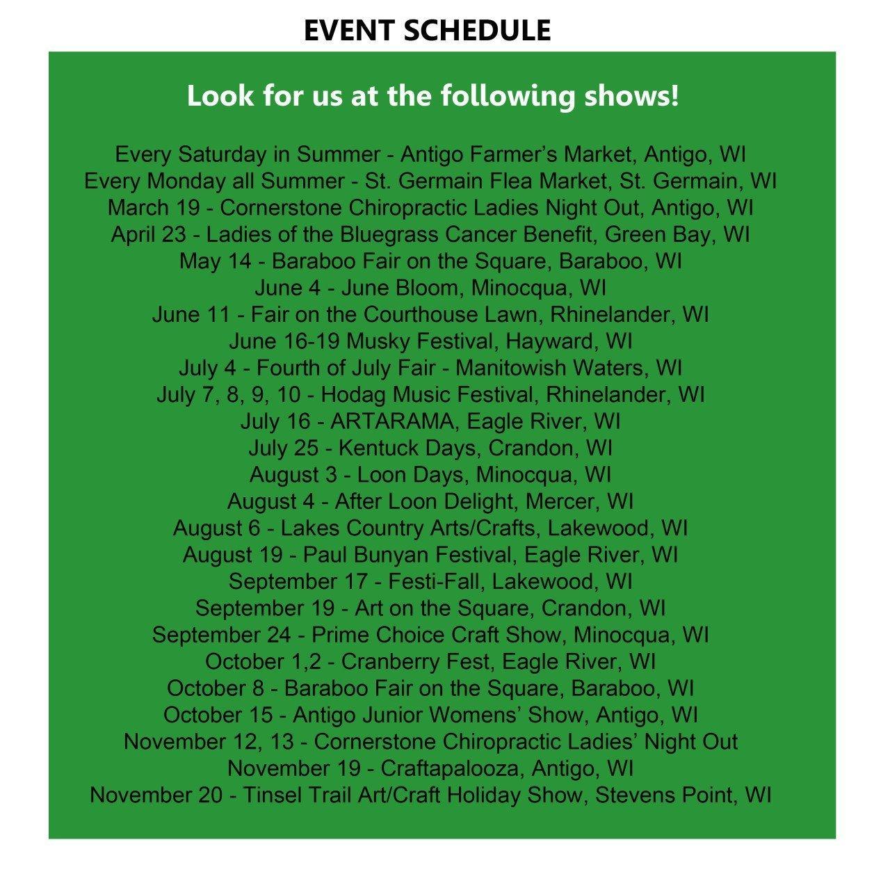 artsEnature 2016 Events & Show Schedule